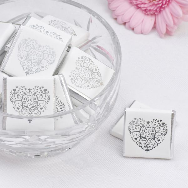 Vintage Romance White & Silver Chocolate Squares (50)